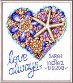 Seaside Heart Wedding - cross stitch pattern designed by Ursula Michael.