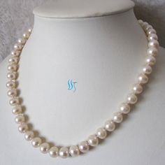 Pearl Necklace  18 inch 9-10mm White AA Freshwater by PearlsStory