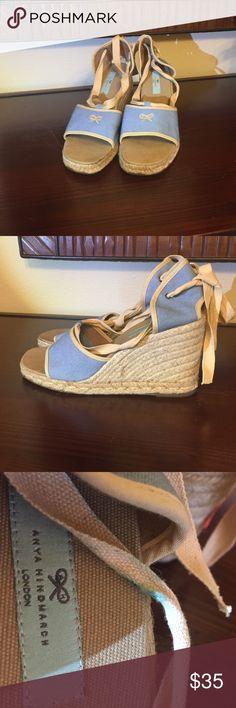 Anya Hindmarch platform peep toe espadrilles Anya Hindmarch platform peep toe espadrilles   Ankle bow tie. Adorable! Size 40 Anya Hindmarch Shoes Espadrilles
