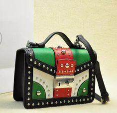 Prada Saffiano Leather Flap Bag BN0969 Black&White&Green&Red Prada Bag, Prada Handbags, Prada Saffiano, Shoulder Strap, Shoulder Bags, Gucci, Purses, Black And White, Green