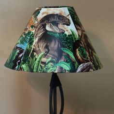 Fabric covered lamp shade for Jack's room.  #DIY #Dinosaurs #ModgePodge