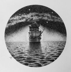 """The Ship"" by Pencil Art Drawings, Cool Drawings, Quote Drawings, Ink Illustrations, Illustration Art, Stippling Drawing, Ink Pen Art, Black And White Illustration, Monochrome"