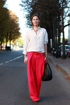 """Love the very femaled-up male trousers & oxford (?) shirt!    Natalie Manchot, """"Madame Germany"""" / from NY Mag's """"The Cut"""" / Photo by Victoria Adamson."""