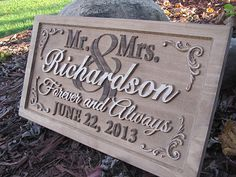 Personalized Wedding gift Family Name Sign custom by Lovejoystore