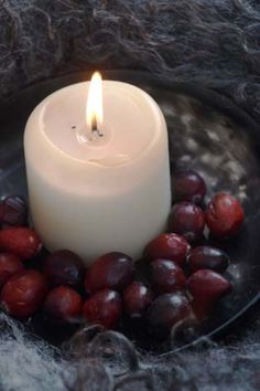Candle with berries and fur