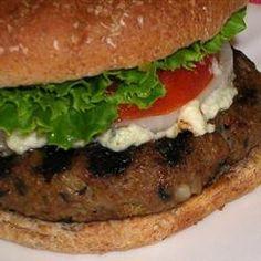 Mushroom Blue Cheese Turkey Burgers {Via All Recipes}