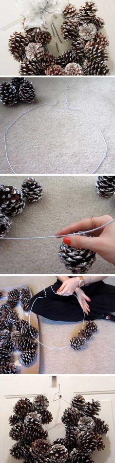 Glitter Pinecones | 20+ Super Easy DIY Christmas Wreaths