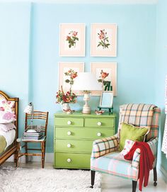 """This makes me happy. I'd skip the mixed plaids on the chair, but everything else charms me so much. This color reminds me of the """"Sprinkle"""" by Valspar I have been considering for the bedroom walls. And that green looks a lot like the color I'd like for my vanity. Ponder ponder, guys."""