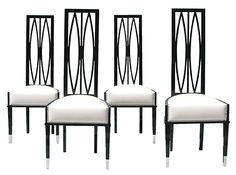 Vintage art deco high back chairs