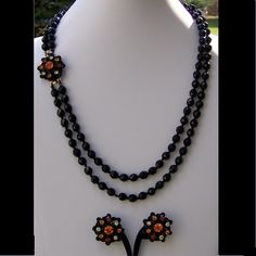 Hobe Demi Parure Necklace Earring Set Original Tag Black Orange from Cousins Antiques Exclusively on Ruby Lane