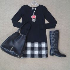 Boot Week at Effies!!! Boot Look of the day!!! @bailey44snaps knit dress with buffalo plaid border, @valdini quilted boot, @raoulfashion Marion tote, and red coral necklace.#madforplaid #mixedmedia #aboutalook #shoplocal #ootd