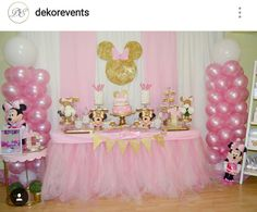 Minnie Mouse 1st Birthday Party Dessert Table and Decor