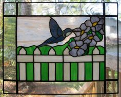 Stained Glass Blue Hummingbird on Etsy, $179.00