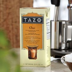 Tazo® Chai Tea Latte Concentrate  So excited about this. Got it at walmart for about $3.50 (just slightly more than one cup at starbucks) and it will make 8 cups! Plus with the convenience of making it at home and not having to go out to a store. I'm definitely hooked!