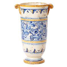 Vietri Flora Blu Handled Vase