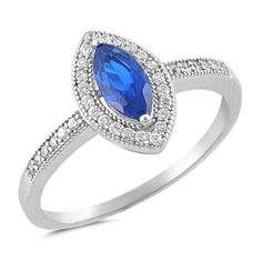 Marquise Cut Blue Sapphire CZ Round Clear White CZ Solitaire Accent Dazzling Halo Wedding Engagement Ring Solid 925 Sterling Silver