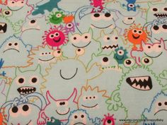 Flannel Fabric  Monsters Light blue  1 Yard 100% by SnappyBaby