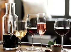 Whether you consider yourself an amateur sommelier, or simply enjoy a glass of wine at the end of the day, you'll need a vessel for that precious vino. Different types of wine glasses are designed to enhance different wine varietals. So when stocking your glassware collection, keep in mind the wines you enjoy the most.