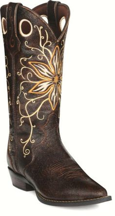 cute cowgirl boots with a yellow flower
