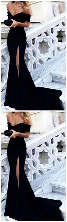 Sexy mermaid long prom dress, off the shoulder prom dress, black split evening dress Classy Prom Dresses, Black Prom Dresses, Sexy Dresses, Evening Dresses, Fashion Dresses, Formal Dresses, Party Dresses, Dress Black, Prom Party