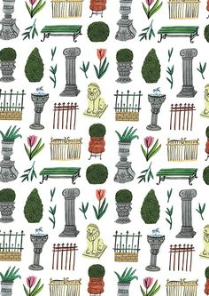 Museum gardens pattern for the gardening special of Libelle - illustration by Bodil Jane