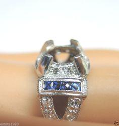 Antique Diamond Engagement Ring Setting Mounting Mount Platinum Hold 6.5MM 1CT