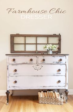 Pretty in Pink Farmhouse Chic Dresser | Salvaged Inspirations
