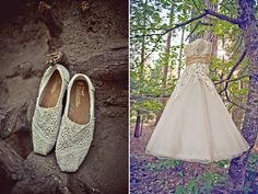 #pretty tea length #wedding #dress by Justin Alexander Bridal with #TOMS shoes