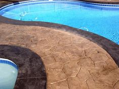 Swimming Pool Landscape Design with Stamped Concrete