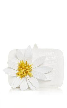 White floral crocodile clutch by NANCY GONZALEZ for Preorder on Moda Operandi