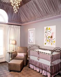Such an elegant nursery design by @littlecrowninteriors!  The entire ceiling is draped in fabric to create a truly luxurious effect.... - Home Decor For Kids And Interior Design Ideas for Children, Toddler Room Ideas For Boys And Girls