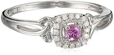 Sterling Silver Pink Sapphire and Diamond Ring