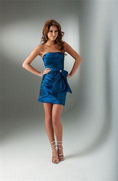 Bustier robe de cocktail pour mariage Bleue Sans Bretelle Courte MRO18256
