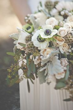 Anemone bridal bouquet   Christina Block Photography   see more on: http://burnettsboards.com/2014/04/1930s-bridal-styled-shoot/