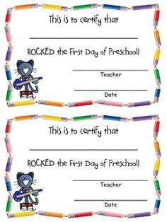 Rocking the First Day of PreK/Kindergarten Certificate FREEBIE!