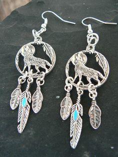 wolf earringswolf dreamcatcher dreamcatcher earrings blue