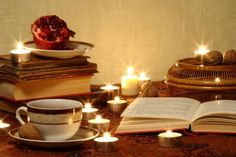 Relax with some tea, walnuts and a good book Book Festival, Christmas Tea, Kwanzaa, Candle Jars, Tea Lights, Good Books, Relax, Passion, Feelings