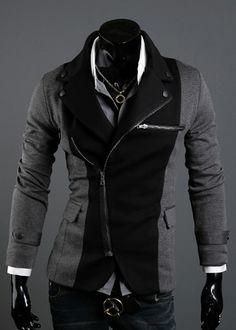 Long Sleeve Splicing Zipper Men Grey Casual Cotton Suit M/L/XL/XXL @X70308g #fashion #clothing #jacket #suit #zipper #belt
