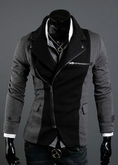 Long Sleeve Splicing Zipper Men Grey Casual Cotton Suit M/L/XL/XXL @X70308g #fashion #clothing #jacket #suit #zipper #belt