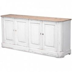 Reclaimed pine farmhouse sideboard with whitewashed finish and natural wood top French Sideboard, Painted Sideboard, White Sideboard, Antique Sideboard, Shabby Chic Buffet, Shabby Chic Furniture, Side Board, Farmhouse Style Kitchen, Farmhouse Interior
