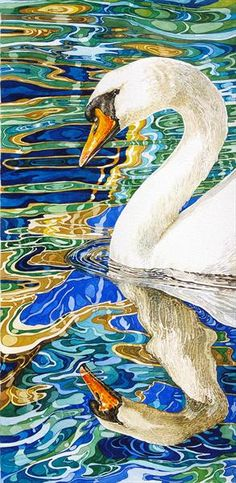 "Swan in Reflection of a Canal Boat Window  By Rhian Symes        Limited edition print    Width: 9.50""  Height: 18.50""      Media: watercolour"