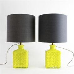 Vintage Decanter Pair Of Chartreuse Square Table Lamps with Charcoal Drum Shades, Silver Cable