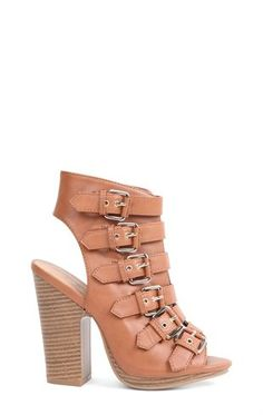 Deb Shops Open Toe High Heel with Wooden #Heel and Buckled Straps on Upper $38.90