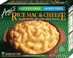 Amy's Kitchen – Amy's Kitchen makes a gluten-, dairy- and soy-free mac and cheese product featuring rice pasta and Daiya brand dairy-free cheese: Rice Macaroni with Dairy-Free Cheeze. This mac and cheese is also vegan and certified Kosher