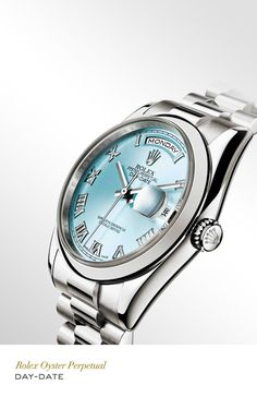 Rolex Day-Date 36 mm in platinum with a domed bezel, ice-blue dial and President bracelet. #RolexOfficial