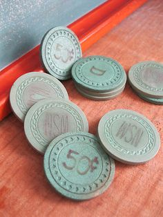 Antique poker chips/game tokens