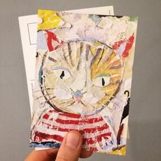 NEW POSTCARD AVAILABLE!  Limited Edition from the original collage artwork by ©philippe patricio 2017 Collage Artwork, Collage Artists, Torn Paper, Shape And Form, Postcards, Art Pieces, Hand Painted, Cats, Animals