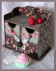 Комодик из тканюшек - мини-комод,комодик для украшений,комод,фанера,пэчворк по дереву