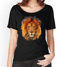 Old Lion Digital art Painting Women's Relaxed Fit T-Shirts #RelaxedFitTShirts #relax #fit #tee #tshirt #clothing  #abstract #lion #tiger #cat #bigcat #fur #beautifulanimal #aztec #jungle #puma #tarzan #pattern #gryffindornarnia
