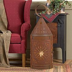 HUGE PUNCHED TIN LANTERN    36 inch TINNERS LANTERN with LIGHT    Chisel Design ~ 3 Available Finishes       This stunningly beautiful primitive